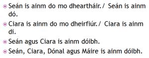 ainmneacha Dearthaireacha, ainmneacha Deirfiúreacha